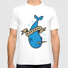 Narwhal MEDIUM Mens Fitted Tee White
