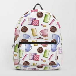 Hand-painted watercolour cozy home decor seamless pattern Backpack