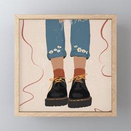 Fall Flower boots Framed Mini Art Print