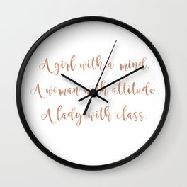 A girl, a woman and a lady - rose gold Wall Clock