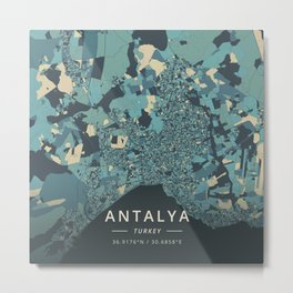 Antalya, Turkey - Cream Blue Metal Print