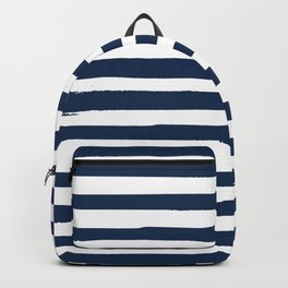 White and Navy Blue Stripes Backpack