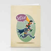justice league Stationery Cards featuring JUSTICE! by stoopz