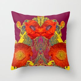 Modern Art Nouveau Orange-Burgundy  Poppy Flowers Throw Pillow