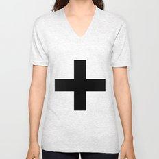 Black Plus on White /// www.pencilmeinstationery.com Unisex V-Neck