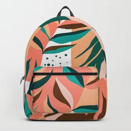 Watching The Leaves Turn, Tropical Autumn Colorful Eclectic Abstract Palm Nature Boho Graphic Design Backpack