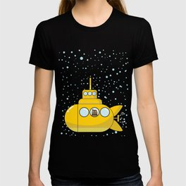 Yellow submarine with a cat and bubbles T-shirt