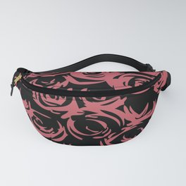 A Pattern of Abstract Roses in Black & Pink Fanny Pack