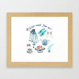 what would jane do, Jane Austen Quote, watercolor Jane Austen art Framed Art Print