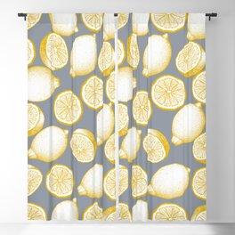 Lemons On Grey Background Blackout Curtain