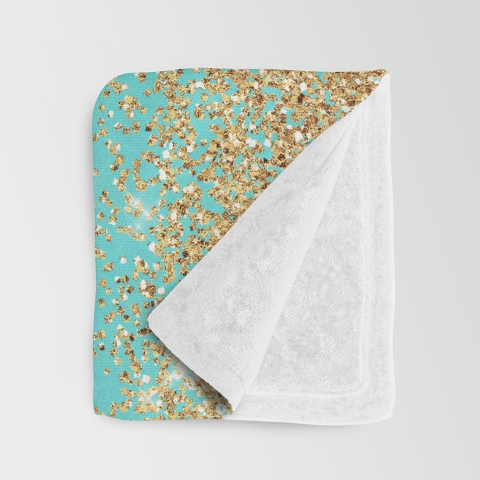 Sparkling gold glitter confetti on aqua teal damask background Throw Blanket
