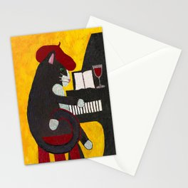 Tuxedo Cat Playing a Piano Stationery Cards