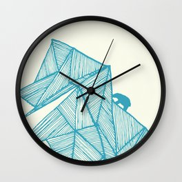 Tiny polar bear on iceberg in teal on gold geometric pattern Wall Clock