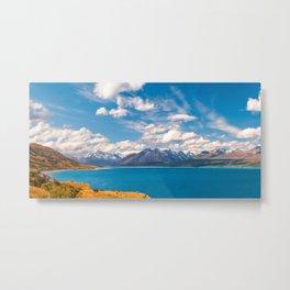 Breathtaking alpine scenery panorama at Lake Pukaki in Mount Cook NP, New Zealand. Metal Print