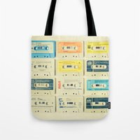 turquoise Tote Bags featuring All Tomorrow's Parties by Cassia Beck