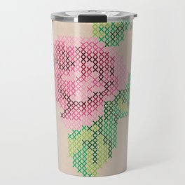 Rose cross stitch Travel Mug