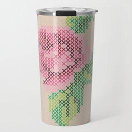 Rose cross stitch Travel Mug