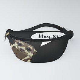 Meerkat suricata saying hey stranger - black background Fanny Pack
