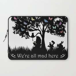 We're All Mad Here III - Alice In Wonderland Silhouette Art Laptop Sleeve