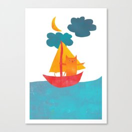 I Set Sea Under the Moonlight - A Cat and Boat and Moon. Canvas Print