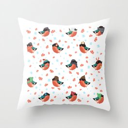 The bullfinches Throw Pillow