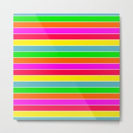 Neon Hawaiian Rainbow Horizontal Deck Chair Stripes Metal Print