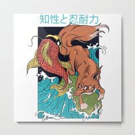 Fox And Fish Battle Metal Print