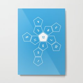 Blue Unrolled D12 Metal Print