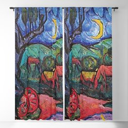 Moonlight on the Horses by the Pool landscape painting by William Sommer Blackout Curtain