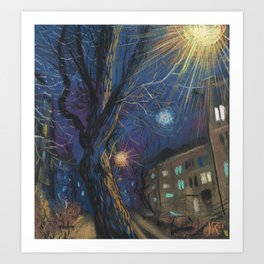 Night Landscape Pastel Painting Art Print