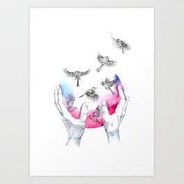 wild and free - pink Art Print