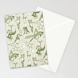 foxy circus green ivory Stationery Cards
