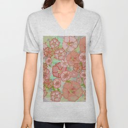 Fanciful Coral & Soft Peach Morning Glories Unisex V-Neck