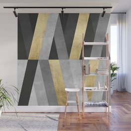 Gold and gray lines I Wall Mural