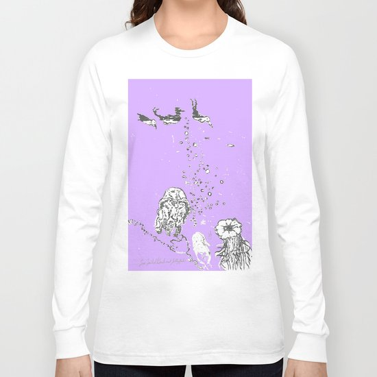 Two Tailed Duck and Jellyfish Purple Grape Long Sleeve T-shirt