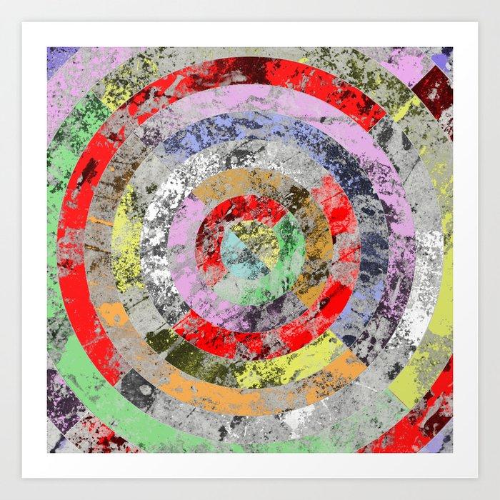 Textured Bullseye - Abstract, marble, pastel colours Art Print
