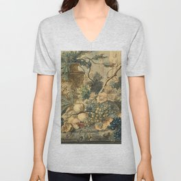 "Jan van Huysum ""Still life with flowers and fruits"" (drawing) Unisex V-Neck"