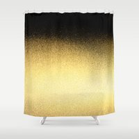 black and gold Shower Curtains featuring Black & Gold  by Ciro Design