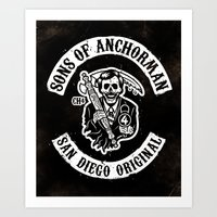 anchorman Art Prints featuring Sons of Anchorman by Brandon Wilhelm ART