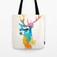 stag Tote Bags featuring Sunny Stag by Robert Farkas