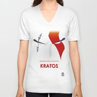 vector V-neck T-shirts featuring Vector Kratos by LoweakGraph