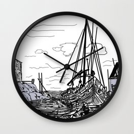 boats on the sea . artwork Wall Clock