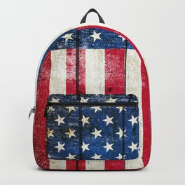Vintage American Flag On Old Barn Wood Backpack