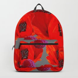 SUCCULENT PURPLE RASPBERRIES & ORANGE POPPIES ABSTRACT Backpack
