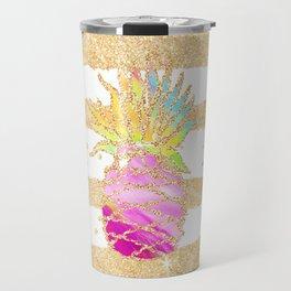 Modern pink watercolor pineapple faux gold glitter stripes Travel Mug