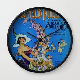 Vintage 1924 Ziegfeld Follies Moulin Stage Theater Advertisement Poster Wall Clock