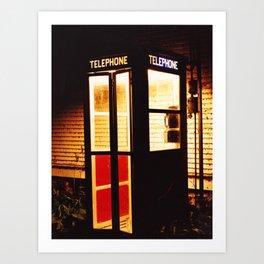 Phone Booth at Night Art Print