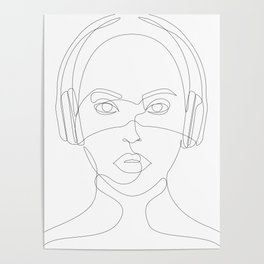 Girl with Headphones Poster