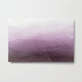 Falling Snow on Purple Metal Print
