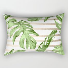Simply Tropical White Gold Sands Stripes and Palm Leaves Rectangular Pillow